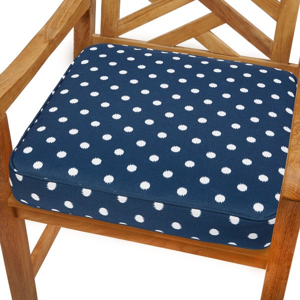 Navy Dots 19-inch Indoor/ Outdoor Corded Chair Cushion