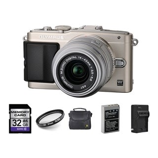 Olympus E-PL5 Mirrorless Micro Four Thirds Camera 14-42mm II R Lens 32GB Bundle