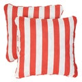 Striped Coral Corded Indoor/ Outdoor Square Pillows (Set of 2)