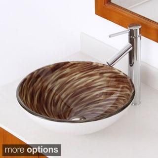 ELITE Modern Design Brown Tempered Glass Bathroom Vessel Sink and Faucet Set