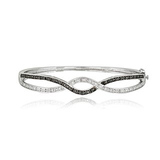 DB Designs Sterling Silver 1/2ct TDW Black/ White Diamond Braided Bangle Bracelet