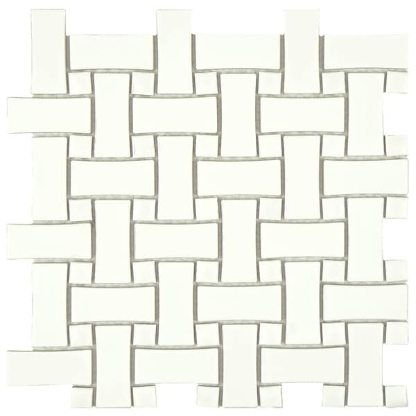 SomerTile Victorian Basket Weave White