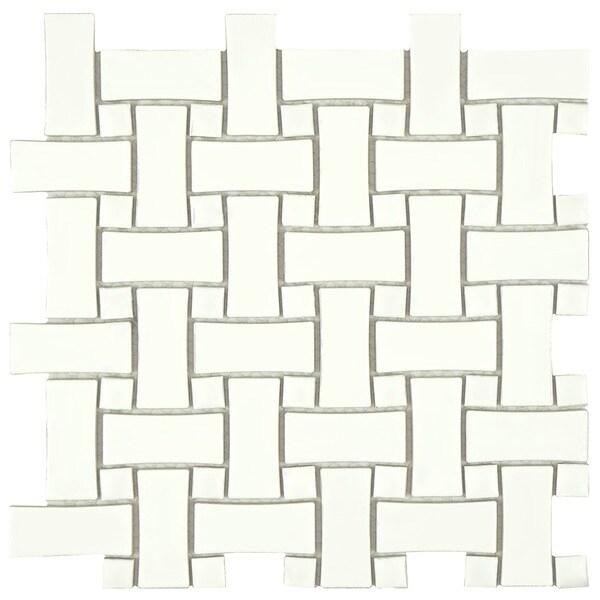 Somertile victorian basket weave white for 10 x 10 ceramic floor tile