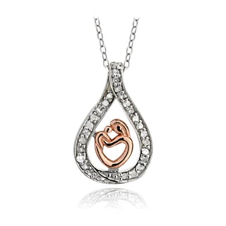 DB Designs Two-tone Sterling Silver 1/4ct TDW Diamond Mother and Child Necklace (I-J, I2-I3)