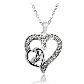 DB Designs Sterling Silver 1/4ct TDW Diamond Mother and Child Necklace (I-J, I2-I3)