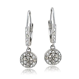 DB Designs Silvertone 1/4ct TDW Diamond Round Dangling Leverback Earrings (I-J, I1-I2)