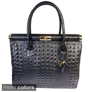 Vecceli Italy Alligator Embossed Genuine Leather Satchel Bag