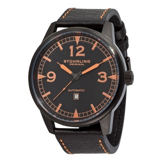 Stuhrling Original Men's Tuskegee Bomber Automatic Leather Strap Watch