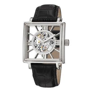 Stuhrling Original Men's Windchester Square Automatic Leather Strap Watch
