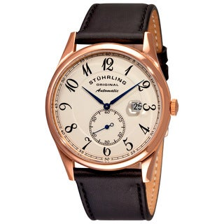 Stuhrling Original Men's Cuvette Classic Automatic Leather Strap Watch