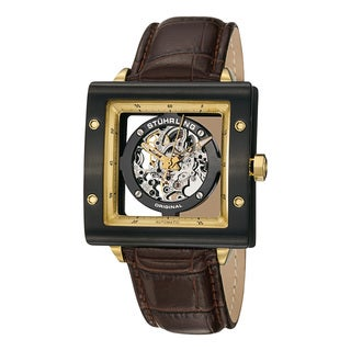 Stuhrling Original Men's Zeppelin Square Automatic Leather Strap Watch