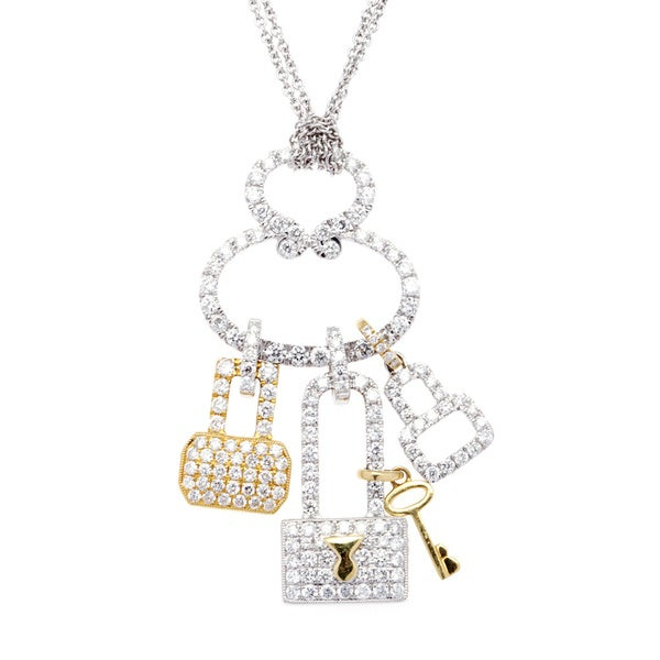 18k Two-tone 2ct TDW Diamond Padlock and Key Diamond Charm Necklace (G-H, SI2-I1)