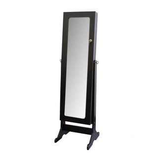 Tall Dark Cherry Standing Mirror with Storage