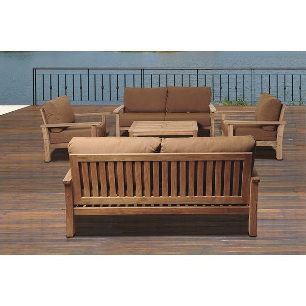 Teak Deluxe 5 Pc Deep Seating Set w Sunbrella Patio