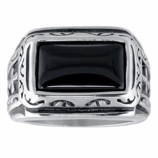 Men's Stainless Steel Black Agate Ring