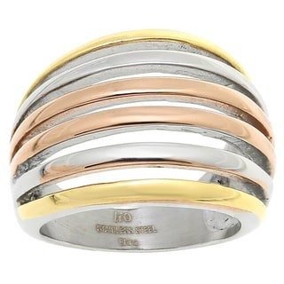 Stainless Steel Tri-tone Ionic-plated Fashion Ring