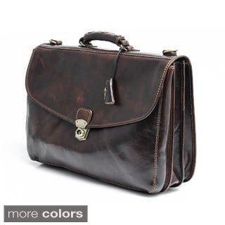 Alberto Bellucci Tuscany Large Triple Compartment Leather Messenger Briefcase