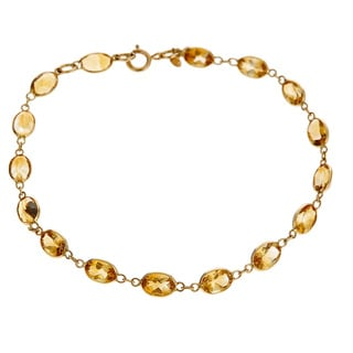 14K Yellow Gold Oval-cut Citrine Bracelet