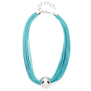 Alexa Starr Multi-row Rhodium Bead Cord Necklace