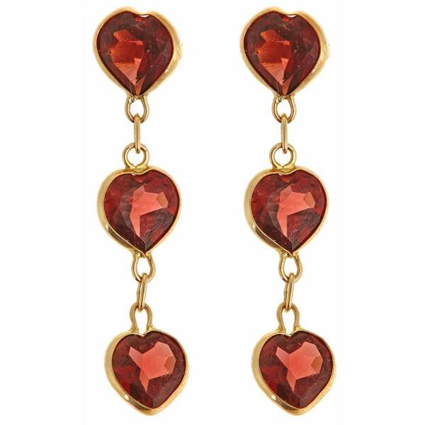 14K Yellow Gold Heart-cut Garnet Triple-drop Earrings