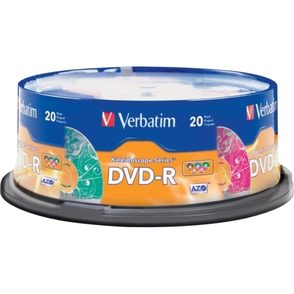 Verbatim DVD-R 4.7GB 16X Kaleidoscope Series - 20pk Spindle, Assorted