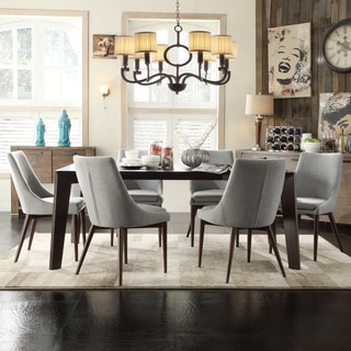 Sasha Curved Grey Linen Upholstered 7-piece Angled-leg Dining Set