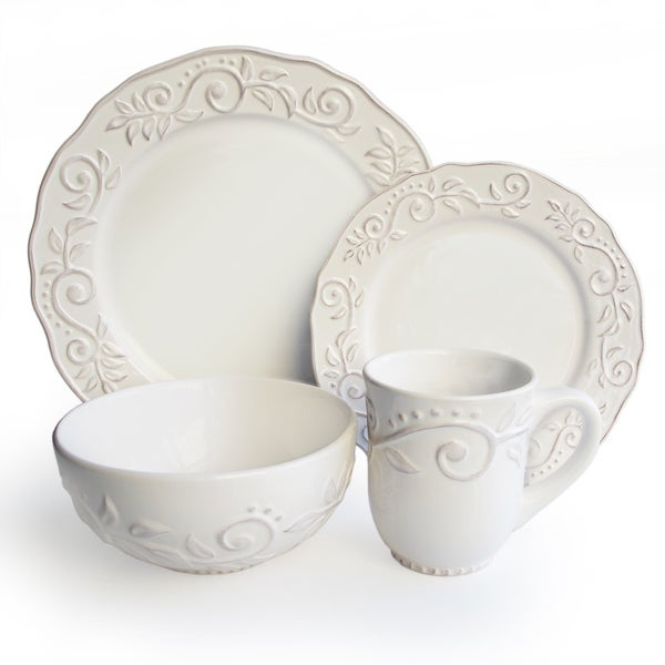 Marselle White Leafy 16 Piece Stoneware Dinnerware Set