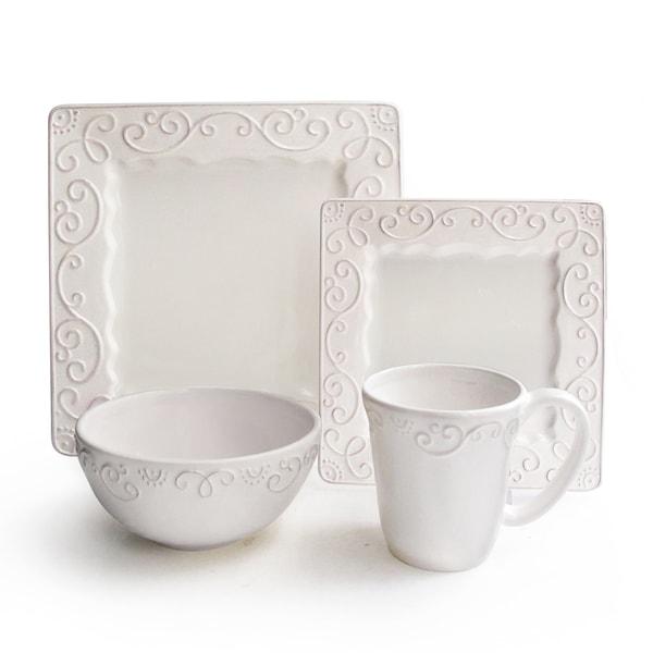 Mina White Raised Scroll 16-piece Stoneware Dinnerware Set