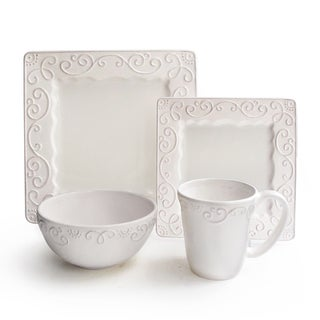 Mina White Raised Scroll 16-piece Stoneware Dinnerware Set