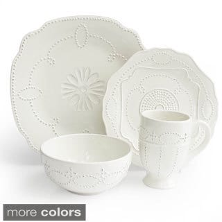 Gabrille Scallop White 16-piece Dinnerware Set