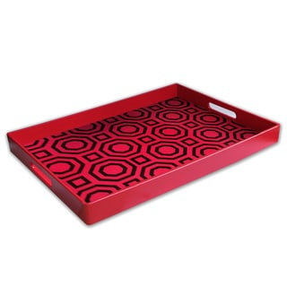 Red Geometric Face Serving Tray with Handles