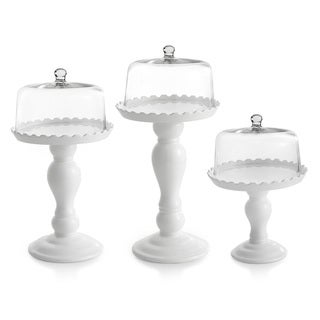 Earthenware Scalloped Cake Pedestals with Glass Dome Covers (Set of 3)