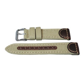 Hadley Roma Genuine Leather and Canvas Swiss Army Style Watch Strap