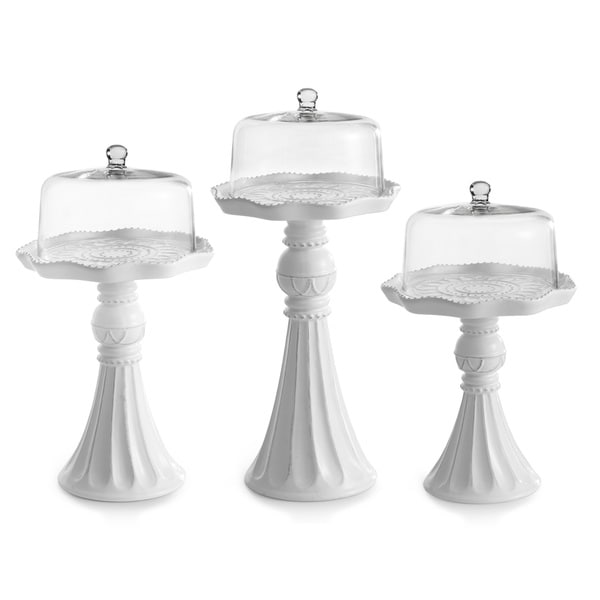 Ceramic Cake Pedestals with Glass Dome Covers (Set of 3)