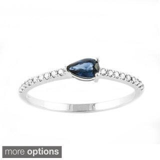Beverly Hills Charm 10k Gold 1/10ct TDW Diamond Sapphire and Stackable Ring (H-I, I2-3)
