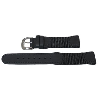 Hadley Roma Genuine Leather and Nylon Swiss Army Style Watch Band
