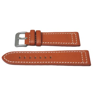 Hadley Roma Genuine Tan Saddle Leather Watch Strap with Contrast Stitching