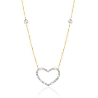 Finesque 14k Gold Overlay 1/4ct TDW Diamond Heart Necklace (I-J, I2-I3)