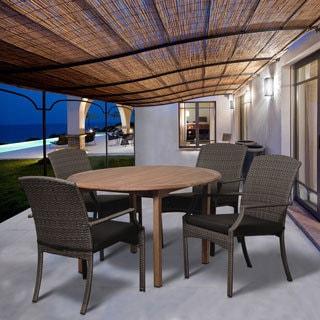 Arno 5-piece Dining Round Teak & Wicker Set