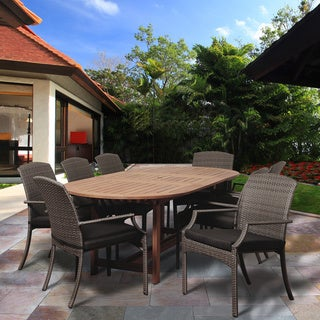 Granada 9-piece Dining Oval Wood and Wicker Set