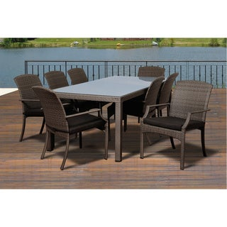 Atlantic Jersey 9-piece Wicker Dining Rectangular Set Grey
