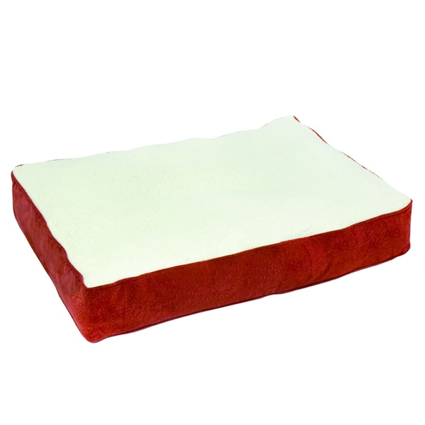 Buster Crimson Sherpa Dog Bed