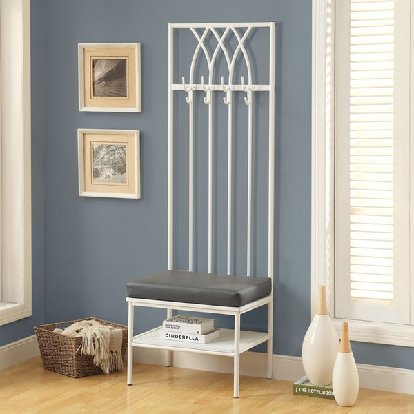 Monarch 72 Inch White Grey Entry Bench