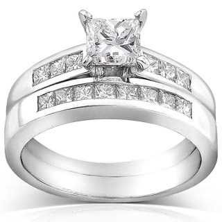Annello 18k White Gold Certified 1 1/2ct TDW Princess Cut Diamond Bridal Rings Set (D-E, VS2)