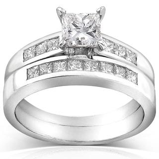 Annello 18k White Gold Certified 1 1/2ct TDW Princess Cut Diamond Bridal Rings Set (D-E, VS2) with Bonus Item