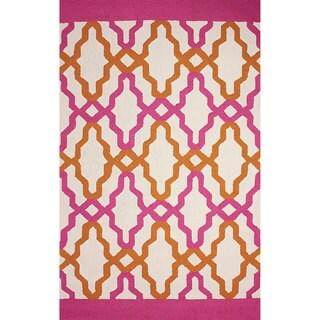 nuLOOM Hand-hooked Trellis Indoor/ Outdoor Pink Rug (7' 6 x 9' 6)