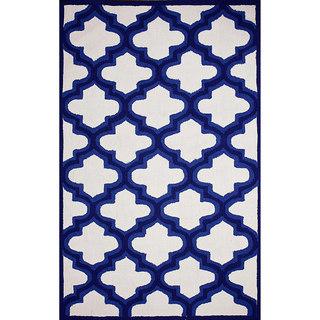 nuLOOM Hand-hooked Trellis Indoor/ Outdoor Blue Rug (7' 6 x 9' 6)