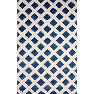 nuLOOM Hand-tufted Lattice Wool Blue Rug (8' 6 x 11' 6)