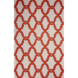 nuLOOM Hand-hooked Moroccan Trellis Wool Red Rug (7' 6 x 9' 6)