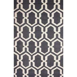 nuLOOM Hand-hooked Trellis Grey Rug (8' 6 x 11' 6)